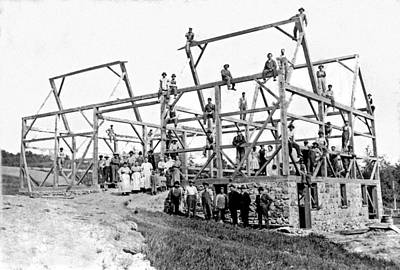 1880s Photograph - A Barn Raising With All The Neighbors by Underwood Archives