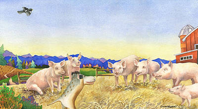 A Barnyard Of Pigs Original by Anne Gifford