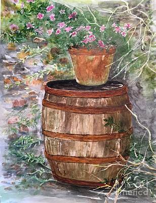 Painting - A Barrel Of Flowers by Lucia Grilletto