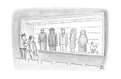 April 25th Drawing - A Bartender Stands In Front Of A Police Lineup by Paul Noth
