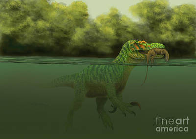 A Baryonyx Escapes Swimming Print by Alvaro Rozalen