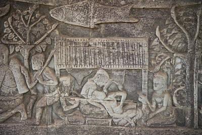 Siem Reap Photograph - A Bas-relief Of Bayon 11 by Zaw  Wai