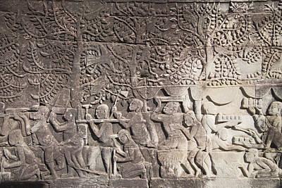 Cambodia Photograph - A Bas-relief Of Bayon 14 by Zaw  Wai