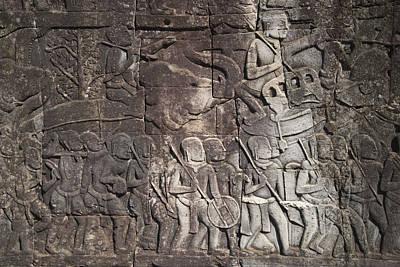 Siem Reap Photograph - A Bas-relief Of Bayon 17 by Zaw  Wai
