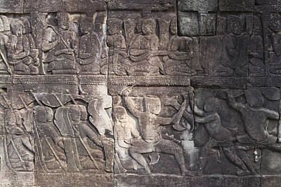 Angkor Photograph - A Bas-relief Of Bayon 7 by Zaw  Wai