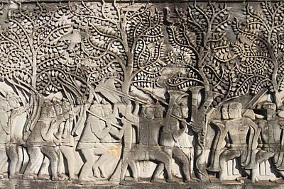 Cambodia Photograph - A Bas-relief Of Bayon by Zaw  Wai