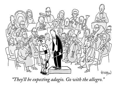 Allegri Drawing - A Baseball Catcher Speaks To An Orchestra by Robert Leighton