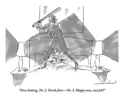 Jeter Drawing - A Baseball Player About To Take A Swing Stands by Michael Crawford