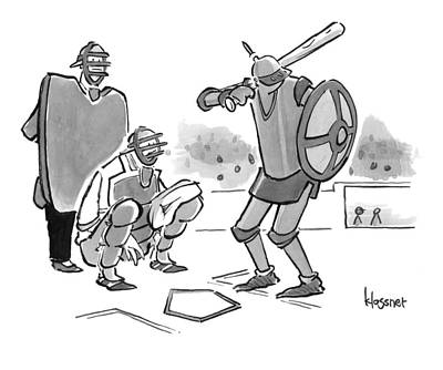 Drawing - A Baseball Player Dressed Like A Knight Holds by John  Klossner