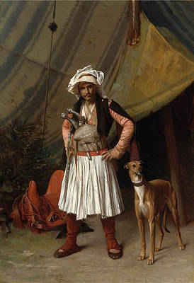 Jean-leon Gerome Painting - A Bashi Bazouk And His Dog by Jean-Leon Gerome