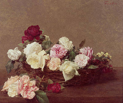 A Basket Of Roses Art Print