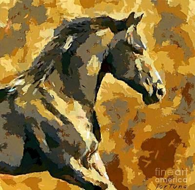 A Bay Lipizzaner Stallion Print by Dragica  Micki Fortuna