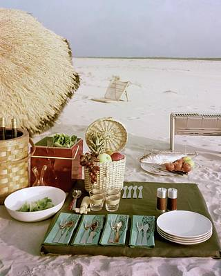 Tableware Photograph - A Beach Picnic by Wiliam Grigsby