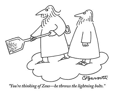 Drawing - A Bearded Man Standing On A Cloud Is Shoveling by Charles Barsotti