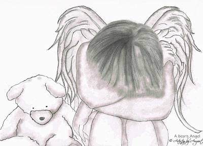 Caring Friend Drawing - A Bears Angel by August