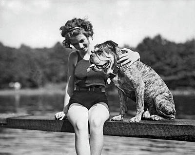 Pet Care Photograph - A Beauty & The Beast by Underwood Archives