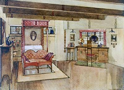 Dressing Room Drawing - A Bedroom In The Arts & Crafts Style by Tom Merry