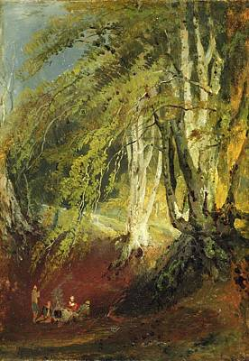 Gypsy Drawing - A Beech Wood With Gypsies Seated Round by Joseph Mallord William Turner