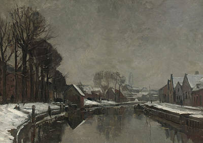 Ground Painting - A Belgian Town In Winter by Albert Baertsoen