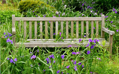 A Bench For The Flowers Art Print