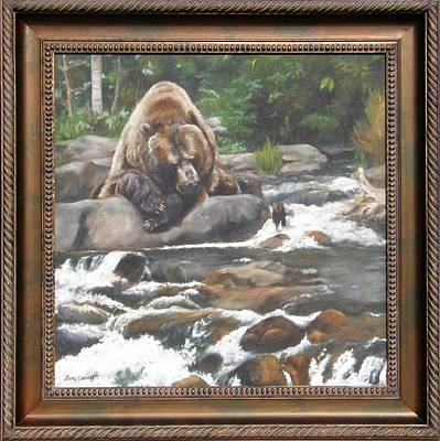Bear Painting - A Berry For Your Thoughts Framed by Lori Brackett