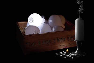 Candle Stand Photograph - A Better Way Still Life - Thomas Edison by Tom Mc Nemar