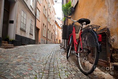 A Bike In The Old Town Of Stockholm Art Print