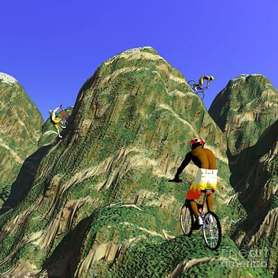 Rire Digital Art - Biker's Hills by Walter Oliver Neal