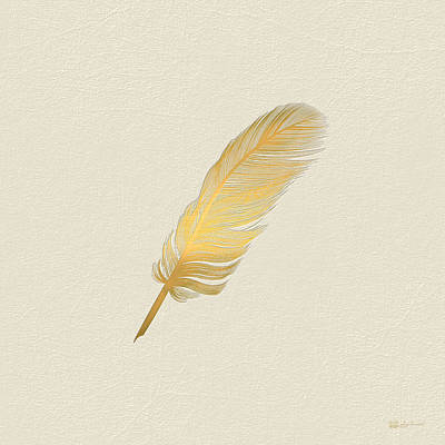 A Bird Feather - Embossed Gold On Linen  Original by Serge Averbukh