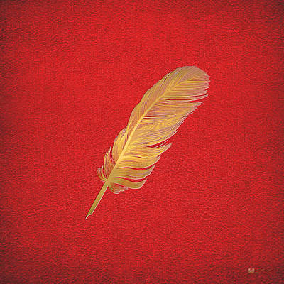 A Bird Feather - Embossed Gold On Red Leather Original by Serge Averbukh