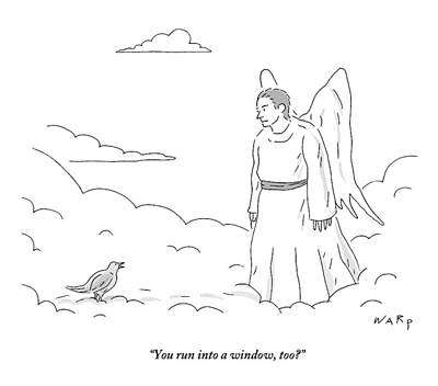 Drawing - A Bird In Heaven Addresses A Male Angel And Asks by Kim Warp