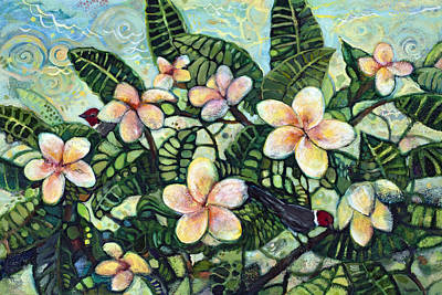Plumeria Painting - A Bird In The Hand... by Jen Norton