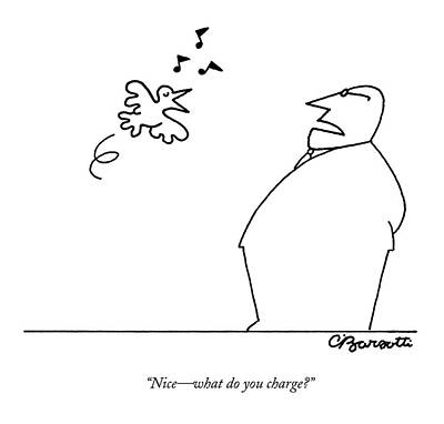 Drawing - A Bird Sings To A Business Man by Charles Barsotti