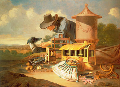 A Birdcatcher And His Dog  Art Print