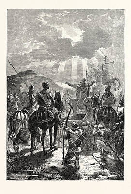 Blessings Drawing - A Bishop Blessing The Troops Before The Battle by English School