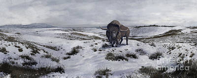 A Bison Latifrons In A Winter Landscape Art Print by Roman Garcia Mora