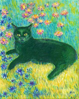 Art Print featuring the painting A Black Cat On Floral Mat by Jingfen Hwu