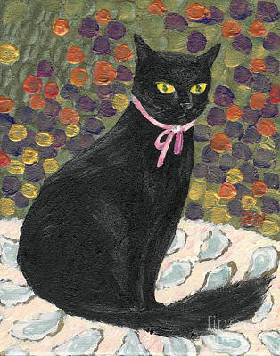 Art Print featuring the painting A Black Cat On Oyster Mat by Jingfen Hwu