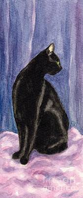 Cat Painting - A Black Cat's Sexy Pose by Jingfen Hwu