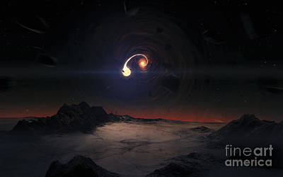 Digital Art - A Black Hole Is Slowly Destroying An by Tobias Roetsch