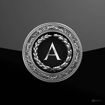 Digital Art - A - Black Silver Vintage Monogram On Modern Glossy Black  by Serge Averbukh