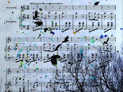 Crow. Bird Music Digital Art - A Melody Of Blackbirds by Gothicrow Images