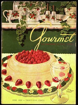 Sparkling Wines Photograph - A Blancmange Ring With Strawberries by Henry Stahlhut