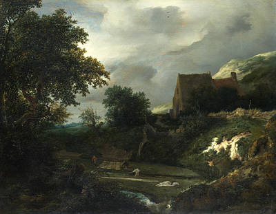 Painting - A Bleaching Ground In A Hollow By A Cottage by Jacob Isaacksz van Ruisdael