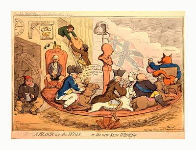 Building Blocks Drawing - A Block For The Wigs Or, The New State Whirligig, Gillray by Litz Collection