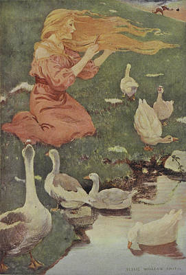 Jessie Photograph - A Blonde Haired Women With Geese by British Library