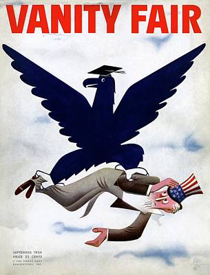A Blue Eagle Carrying Uncle Sam Art Print