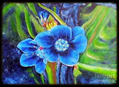 Exotic Blue Flower Prize For Blue Dragonfly Art Print