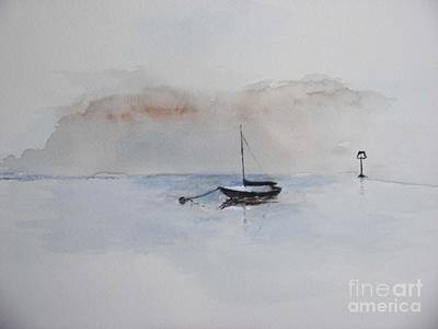 Art Print featuring the painting A Blue Mooring by Sibby S