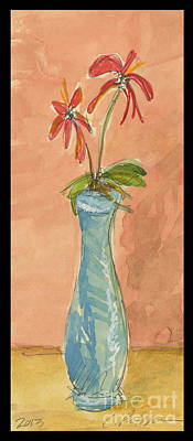 Watercolor With Pen Drawing - A Blue Vase With Red Flowers  by Cathy Peterson
